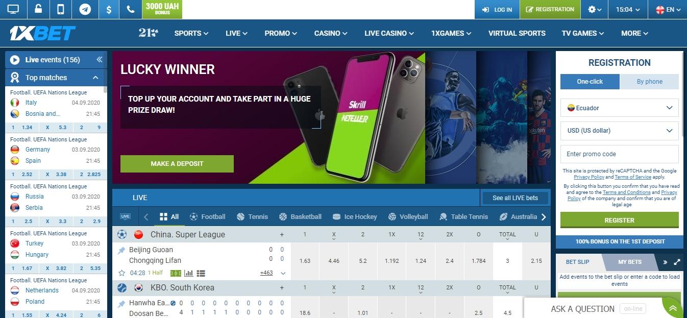 1xBet sport betting