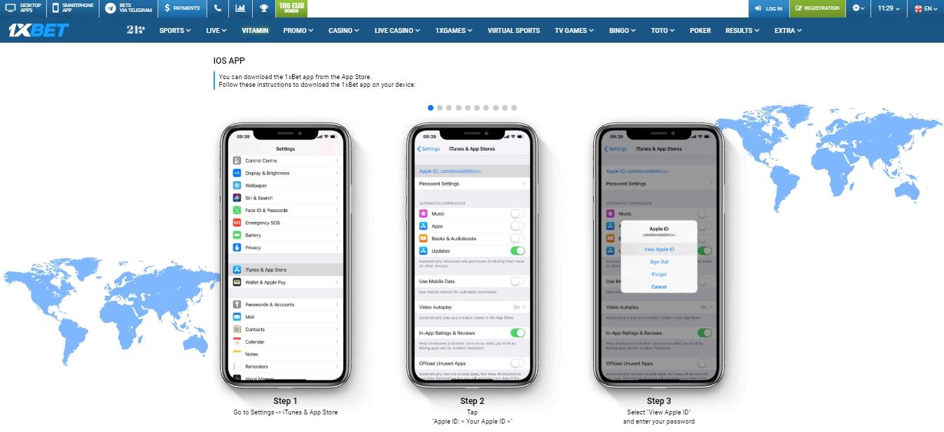 1xBet app iOS download